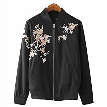 Viport Women's Phoenix Embroidered Bomber Jacket Loose Jacket Black Retro Vintage Embroidery (S)