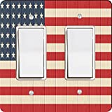 Rikki Knight 8615 Double Rocker America Flag On Distressed Wood Design Light Switch Plate