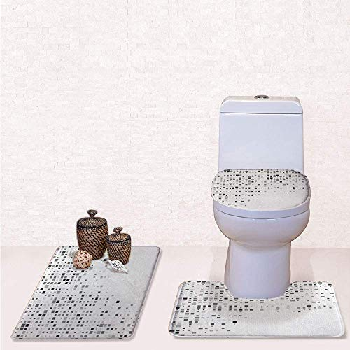 3 Pcs Soft Bathroom Rug Set Includes Bath Mat, Contour Rug,Lid Cover,Digital Pattern Composed of Geometric Elements Radiant Rectangle Parallel Picture with Ash White,Decorate Bathroom,Entrance doo
