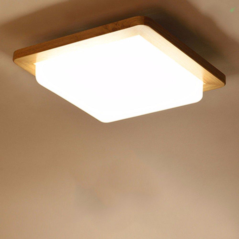 XHOPOS HOME Ceiling Lamp LED Japanese Bedroom Balcony Wood Living Room Room Lighting 32x32cm