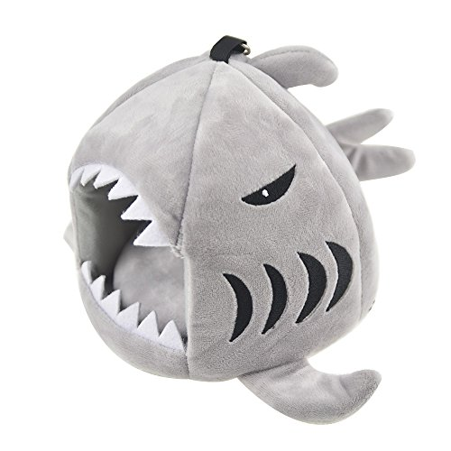 Cute Shark Guinea Pig Hamster Bed House Hammock Winter Warm Squirrel Hedgehog Chinchilla House Cage Nest Bed Hamster Accessories (S, Grey)