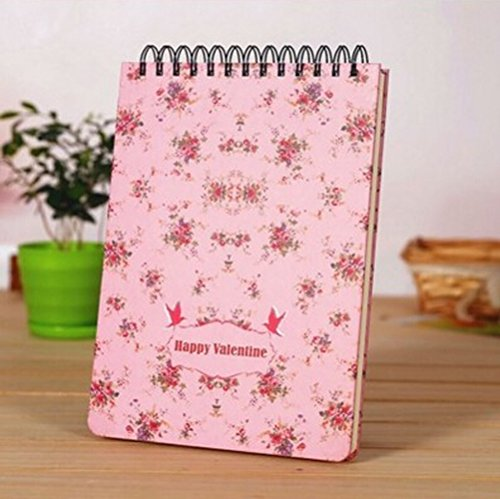 Recycled Cardboard Journal (Wirebound Writing Journal Notebook B5 Top Spiral Personal Planner Organizer,Portable 16K Memo Steno Notepads,Floral Hardcover Thick Agenda Notebook,Taking Notes at Random Times,260 Page)