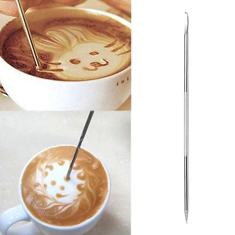 Stainless Steel Coffee Drawing Art Pen Espresso Cappuccino Decorating Needle Tool Silver