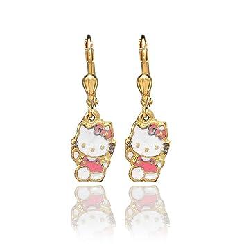 3b08299fa Amazon.com : NEW 2014 MODEL!!! STOCK PRICE!!! GF 18k Dangle Drop Leverback  Pink Enamel Hello Kitty Earrings Teen Girl in : Beauty