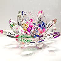 Amlong Crystal Sparkle Crystal Lotus Flower Feng Shui Home Decor with Gift Box, 3-Inch
