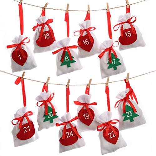 shenruifa Christmas Drawstring Gift Bags, 24pcs Fabric Christmas Countdown Advent Calendar Candy Bags New Year Christmas…