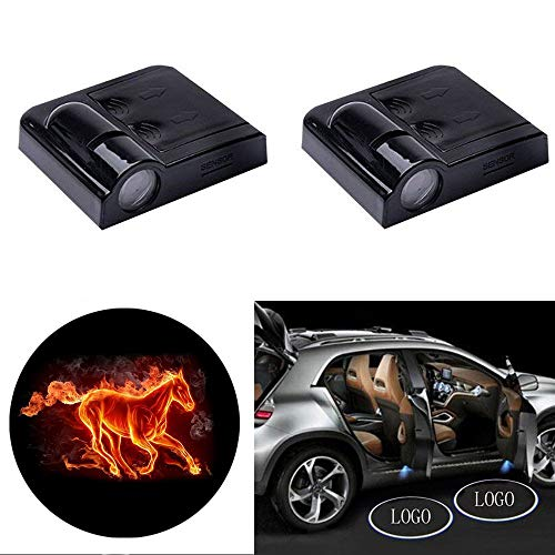 2 Pcs Wireless Car Door Led Welcome Laser Projector Logo Light Ghost Shadow Light For Ford Mustang
