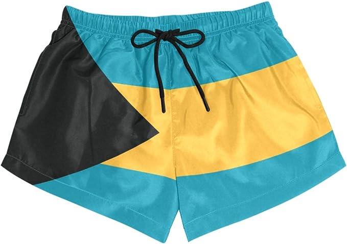 CHINEIN Women Sports Summer Swim Beach Board Shorts Colorful Checkered Flag