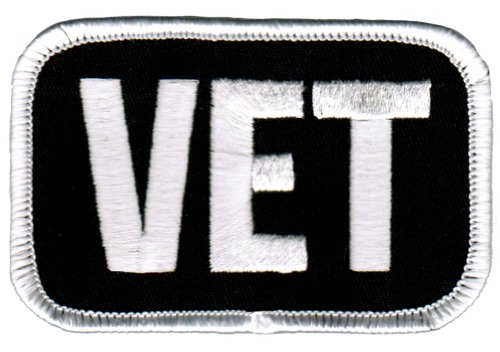 Vet Patch White Embroidered Military Veteran Iron-on Emblem - Military Vet Patch