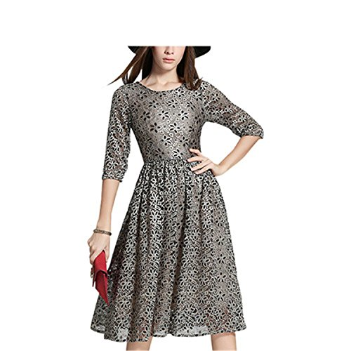 Autumn Lace Hollow Out Slim Party Dresses(Grey) - 3