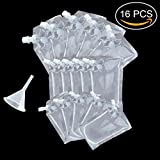 Newbested 16 PCS 3 Dimensions Plastic Liquor Pouch Drinks Flasks Concealable Drinking Flasks 235 ml, 423 ml and 1000 ml with Plastic Funnel