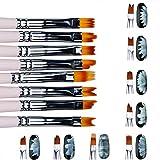 8 Pcs Nail Brush Pen Gradient Painting Brush Set UV Gel Flower Drawing Pen Purple Handle Manicure Nail Art Polish Pen Tool