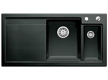 Waschbecken küche keramik schwarz  Blanco Axon II 6 S Schwarz Auflage Keramik-Spüle Spülbecken Küche ...