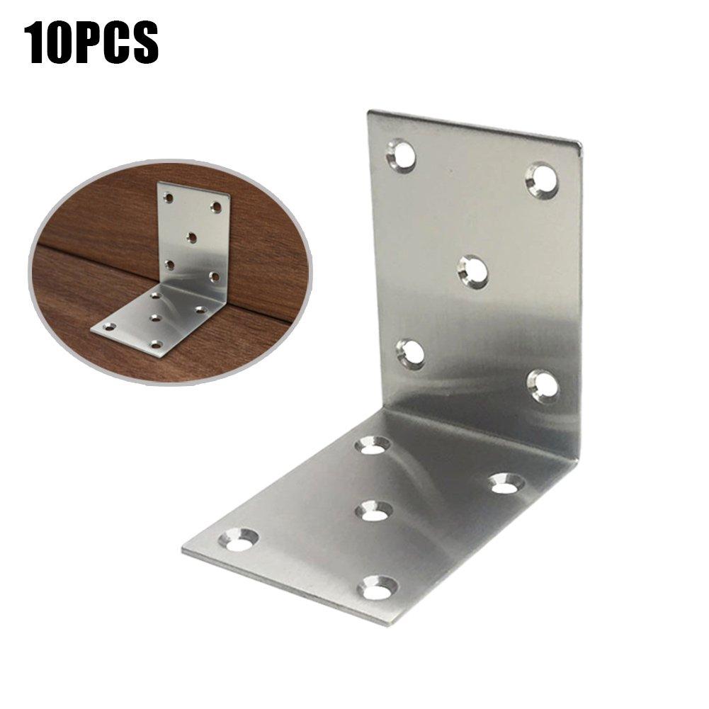 Alftek 10 pezzi Attaccaglia Ferro L Tipo ad angolo retto supporto mensola supporto staffa di fissaggio per mobili armadio