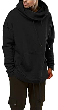 c71cd7a7d6 YYG Mens Plus Size Drawstring Pocket Front Hoodie Fleece Relaxed Fit Hoodies  Sweatshirt Black M