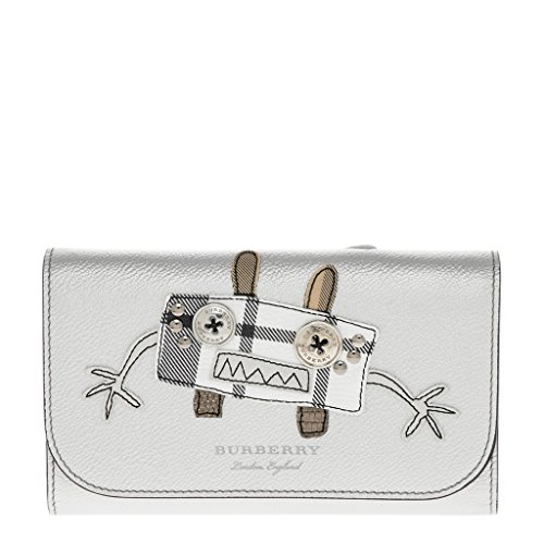 Burberry Women's Creature Applique Tartan Leather Wallet with Chain Silver by BURBERRY