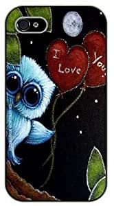 iPhone 4 / 4s Owl with heart balloons, I love you - black plastic case / Animals and Nature, owl, owls by runtopwell