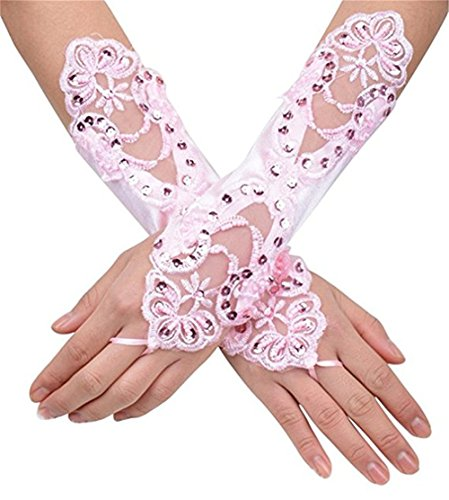 Evening Bridal Long Satin Gloves Fingerless Beaded Wedding Gloves for Women Light Pink