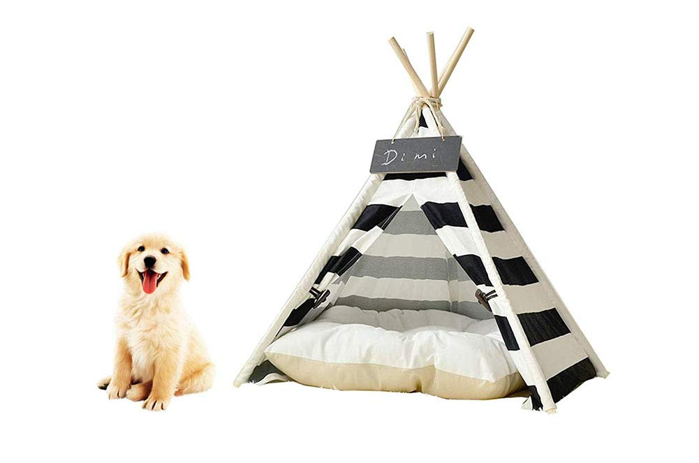 Saim Pet Teepee Dog Cat Bed Portable Cotton Canvas Tent with Cushion Blackboard Pet Cat Supplies Puppy Little House Quickly Assembled Disassembled for Machine Washable Travel Teepee Tent