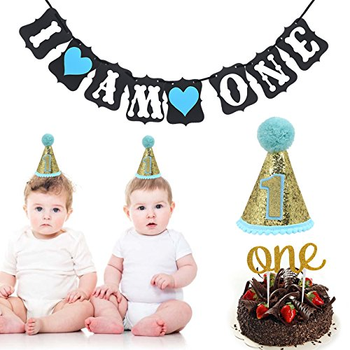 First Birthday Decoration Set for Boy - 1st Baby Boy Birthday Party Cone Hat,Cake Topper Decoration -