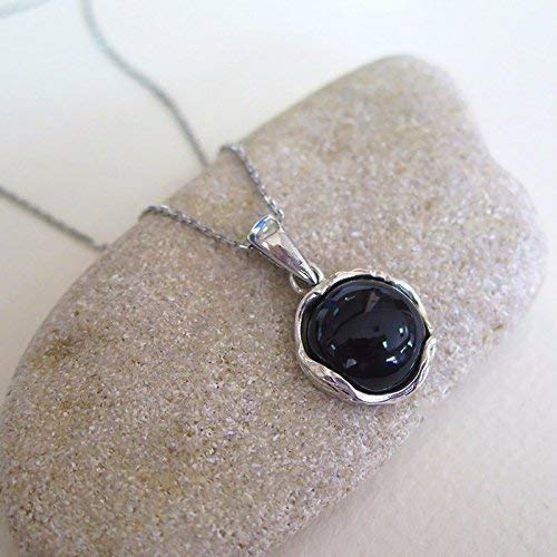 Black Onyx Gold Pendant - 925 Sterling Silver Onyx Necklace - Dainty 12mm Round Shiny Dark Genuine Black Onyx Gemstone Pendant, Delicate Ornamented Handmade Vintage Statement Everyday Jewelry Gift for Classy Women