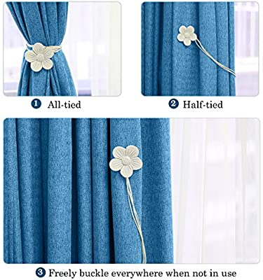 Lewondr Vintage Magnetic Curtain Tieback Ink 1 Pair Resin Flower Curtain Drapery Holdback Window Curtain/Decorative Buckle Holder for Home Cafe Balcony