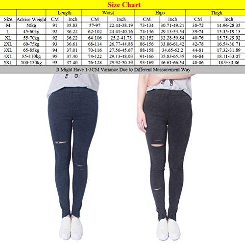 Zhhlinyuan Alta calidad Womens Fashion Knee Hole Jeans Torn Sand Washed Jeans Pants Leggings Plus Size M-XXXXXL Black