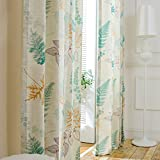 Cheap VOGOL 2 Panels Herbs Printed Natural and Elegant Faux Linen Grommet Curtains Drapes for Bedroom/Living Room, Window Treatment Panels,52 x 84 Inch
