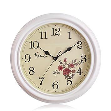 NooLom Continental antiguos relojes reloj de pared reloj moderno dibujo silencio creativo reloj de pared reloj electrónico de madera real, ...