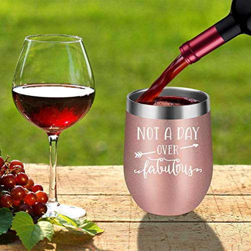 Not A Day Over Fabulous - LEADO Stainless Steel Insulated Wine Tumbler with Lid - Funny Novelty Birthday Mothers Day Retirement Gifts Ideas for Her Women - 30th 40th 50th 60th 70th Party Decorations by LEADO (Image #6)