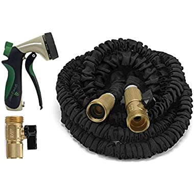 Garden Hose, 50 Ft, Heavy Duty Expanding Water Coil Flexible Expandable Retractable Collapsible Shrinking Hoses Strongest Lightweight Solid Brass Fittings. For Grass Dock Warehouse Gardner Plants