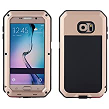 Samsung S6 Case, I3C Waterproof Shockproof Aluminum Gorilla Glass Metal Case Cover For Samsung Galaxy S6 Gold
