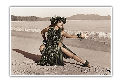 (Pacifica Island Art Dance of the Honu (Turtle) - Hawaiian Hula Dancer - Original Hand Colored Photograph by Alan Houghton - Hawaiian Master Art Print - 13 x 19in)