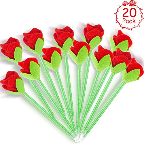 20 Pieces Rose Pens Party Favor Gift Rose Flower Pen Ballpoint Pen for Girls Teens Office School Supplies Students Children Celebration Giveaways from Outus