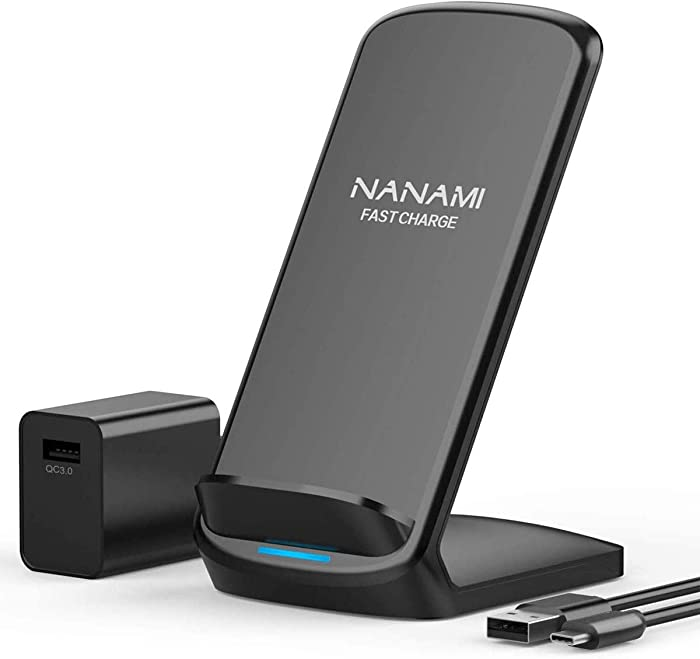 Fast Wireless Charger,NANAMI 7.5W Wireless Charging Stand [with QC3.0 Adapter] Compatible iPhone SE/11/11 Pro/11 Pro Max/XS Max/XS/XR/X/8/8 Plus,10W Qi Charger for Samsung S20/S10/S9/S8/S7/Note10+/9/8