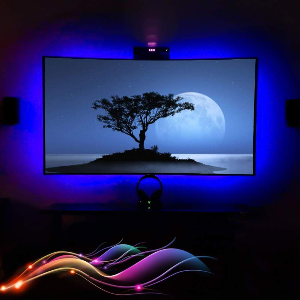 XYOP LED Strip Lights Battery Powered USB Operated 2 in 1, Waterproof RGB Led Lights Strip, Flexible Led Strip Rope Lights with RF, Color Changing Lights for TV Backlight (RGB 24keys-2M/6.6FT)