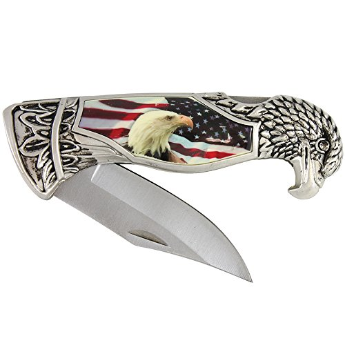 USA Flag & American Bald Eagle Head Shaped Folding Pocket Knife w/Gift Box Case