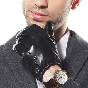 ELMA Men's Lambskin Leather Driving Wrist Gloves Elasticated Cuff Gold Plated Logo (S, Black)
