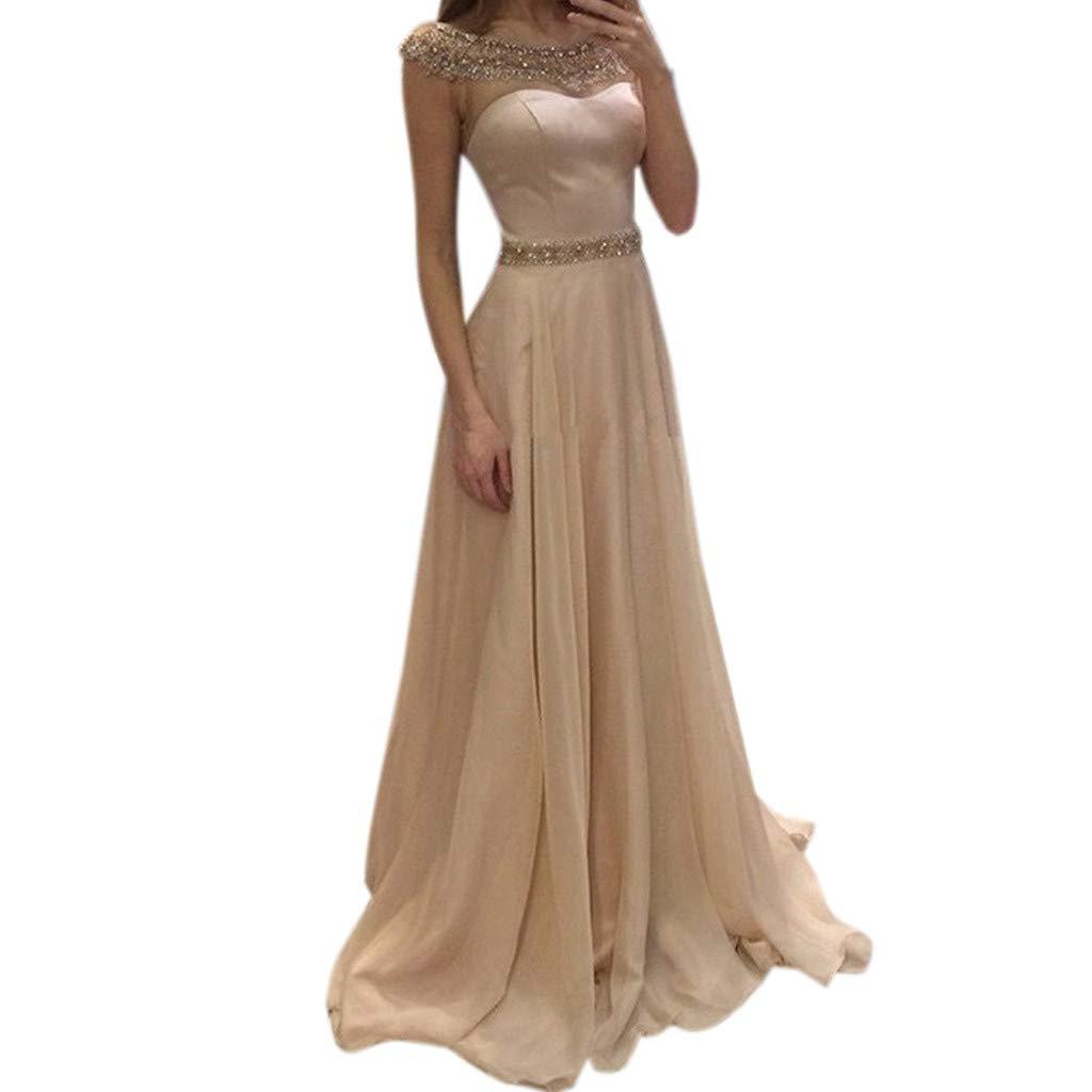 Women's Elegant Evening Dress  Slash Neck Sequin Solid Maxi Dress  Cocktail Prom Gown Long Tail Dresses (S, Beige)