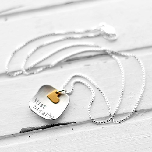 Sterling Silver Hand Stamped Just Breathe Necklace with Gold ()