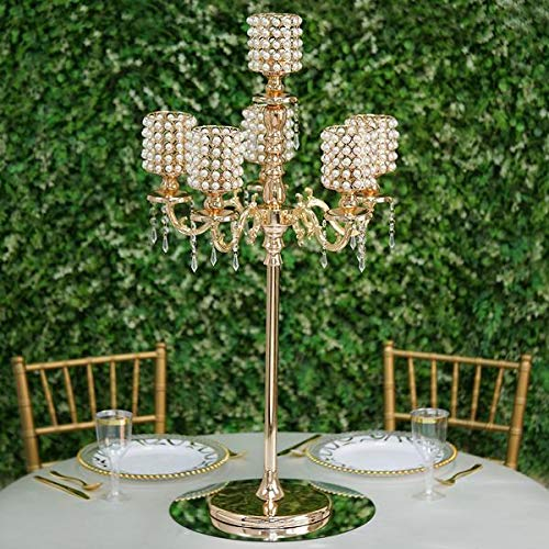 Efavormart DIY Dual Use Gold Pearl Beaded Metal Floor Candelabra (56