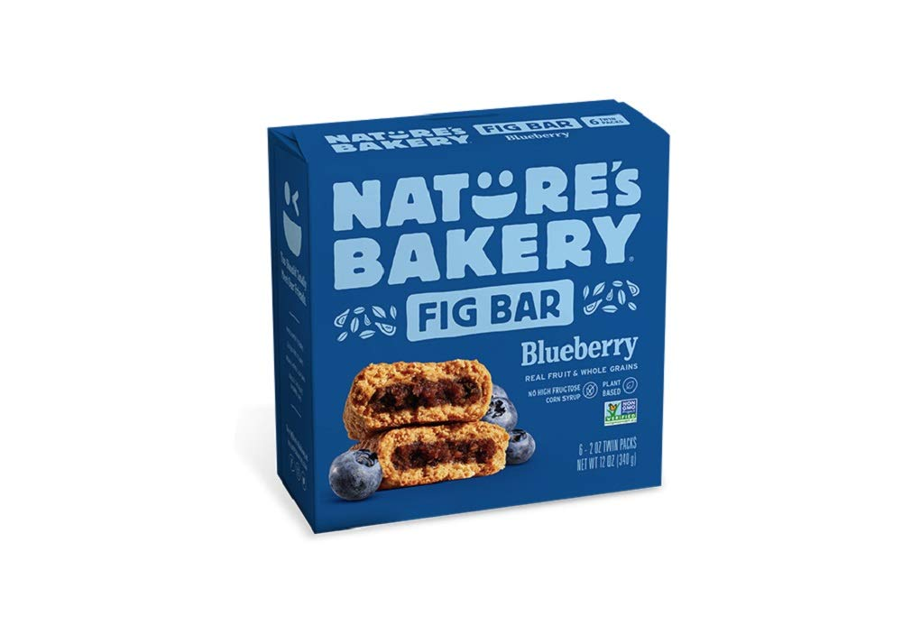 Nature's Bakery Whole Wheat Fig Bars, Blueberry, 1- 6 Count Box of 2 oz Twin Packs (6 Packs), Vegan Snacks, Non-GMO