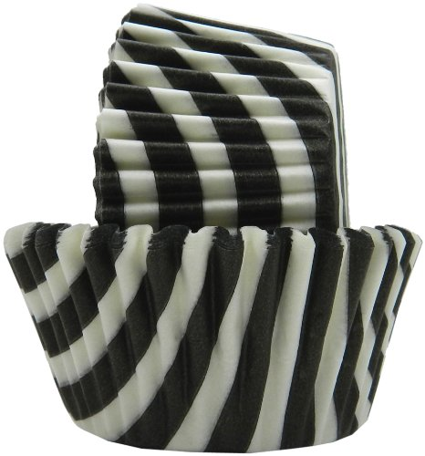 Regency Wraps Greaseproof Baking Cups, Black and White Stripes, 40 Count, Standard.]()