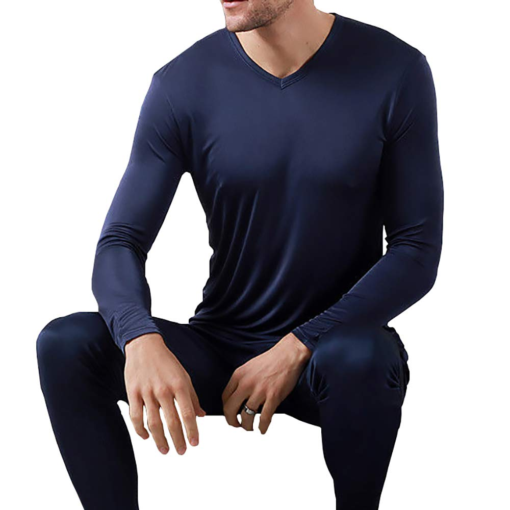 Men 100/% Pure Silk T-Shirt Top Knitted Leisure Crew Neck Shirts Long Sleeve Soft
