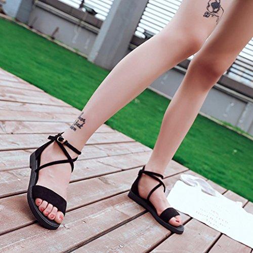 Sandalen__Elecenty Elecenty Sandalen Damen Sommer Schuhe,Schuh Knöchelriemen Sommerschuhe Shoes Sandaletten Frauen Flache Abendschuhe Hochzeit Offene Elegante Knöchelriemchen Bequeme Freizeitschuhe Schwarz