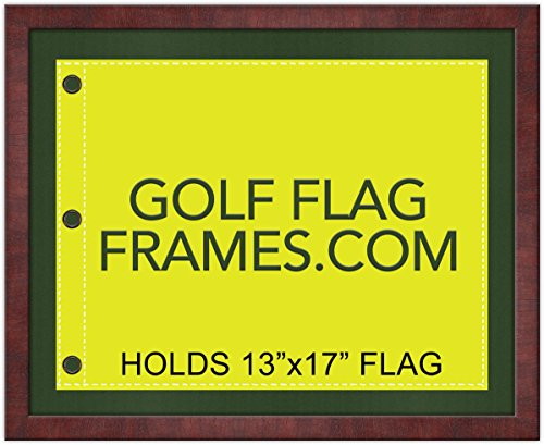 Frame Clearance Tubes - Golf Flag Frames 16x20 Mahogany, Moulding brn-011, Reversible Black and Green Mats (Holds 13x17 Masters Golf Flags; Flag not incl)