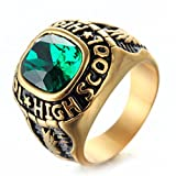 LAMUCH Jewelry Stainless Steel Vintage Gold Eagle Insert Green Stone Rings For Mens,Size10