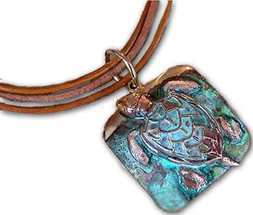 Elaine Coyne Verdigris Patina Solid Brass Large Sea Turtle Pendant on Triple Rawhide