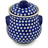 Polish Pottery Jar with Lid and Handles 9-inch Blue Eyed Peacock