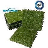 Boden Max®, prato artificiale, set di piastrelle a incastro, 30 cm x 30 cm, piastrelle per terrazzo, prato sintetico in plastica